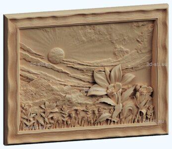 stl модель-панно цветок и закат