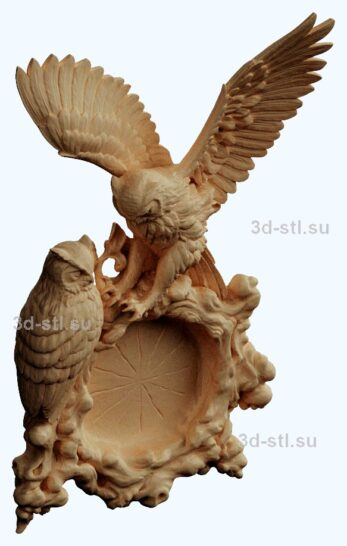 stl модель часы сова