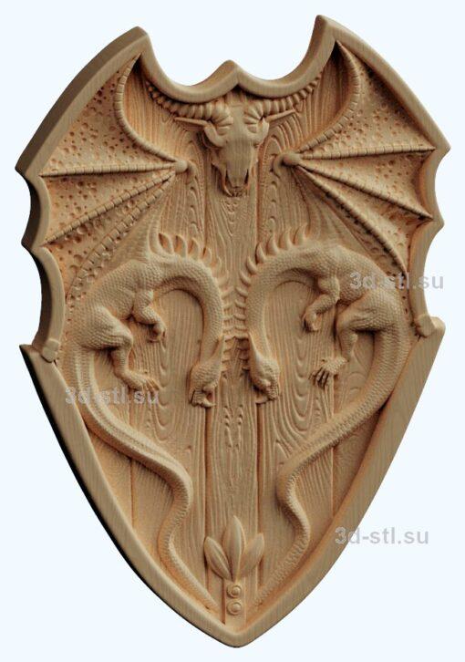 stl модель щит с драконом