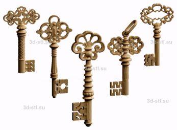 3d stl модель-золотые ключики