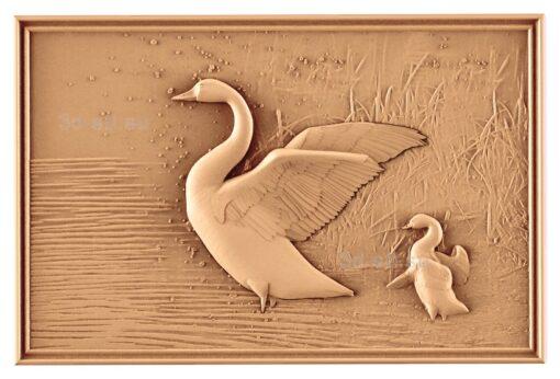 stl модель-Панно Лебедь с лебеденком
