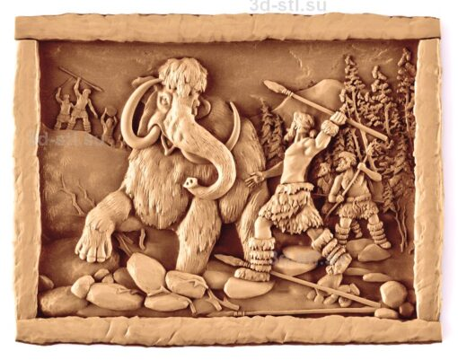 stl модель-Панно Охота на мамонта