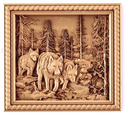 stl модель-Панно Волки в лесу