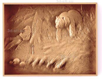 stl модель-Панно Медведь идет возле рыбака
