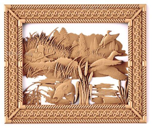 stl модель-Панно Утки охота