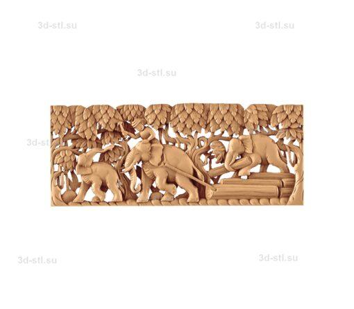 stl модель-Панно Слоны работают