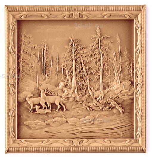 stl модель-Панно Олени в лесу