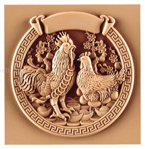 stl модель-Панно Петух с курицей