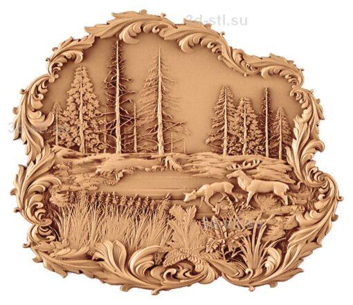 stl модель-Панно Лоси на природе