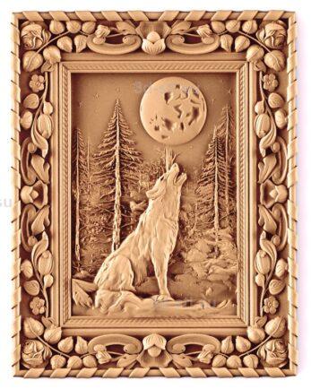stl модель-Панно Волк и луна