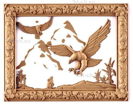 stl модель-Панно Орлы и заяц- охота