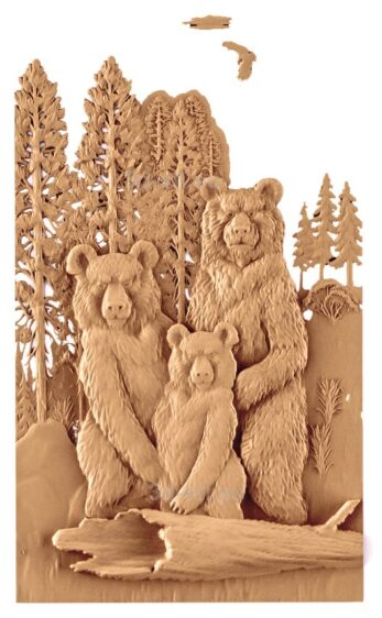 stl модель-Панно Медвежья семья