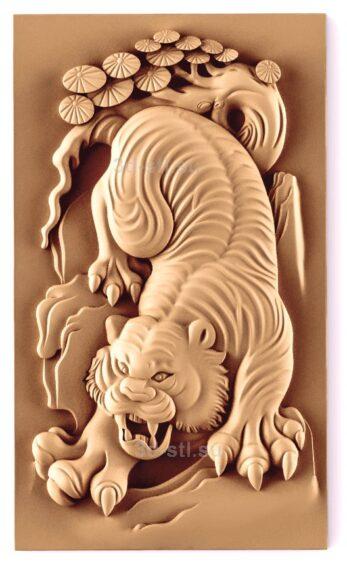 stl модель-Панно Тигр китайское панно
