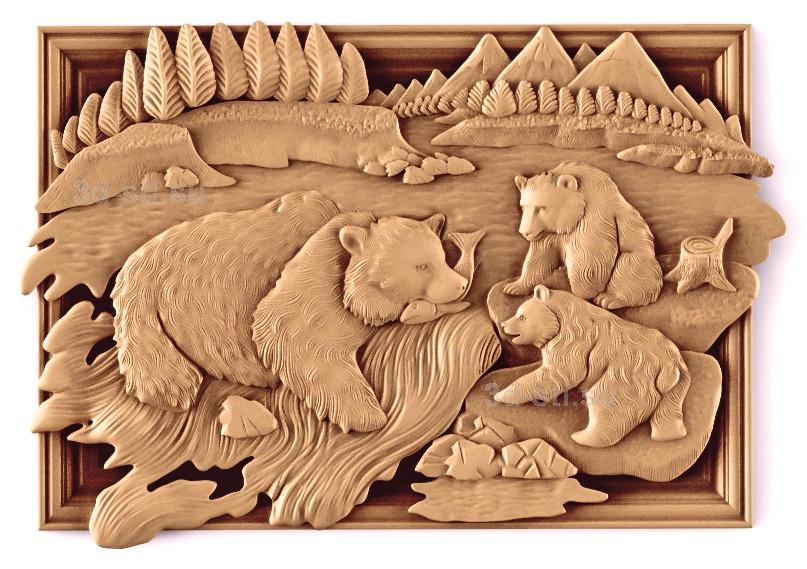 Медведица с медвежатами на рыбалке
