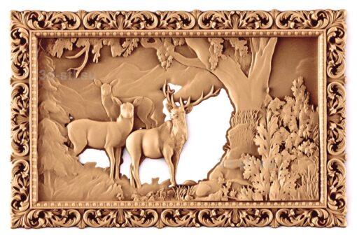 stl модель-Панно Олени и природа