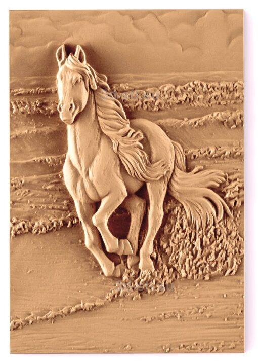 stl модель-Панно Конь или лошадь бежит куда-то