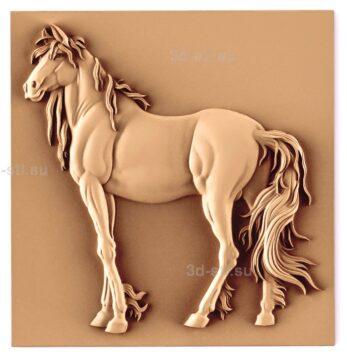 stl модель-Панно Конь или лошадь