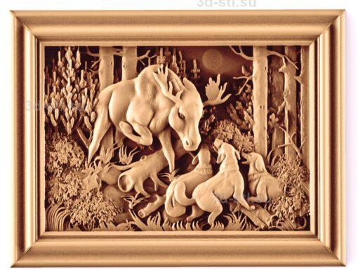 stl модель-Панно Охота на лося