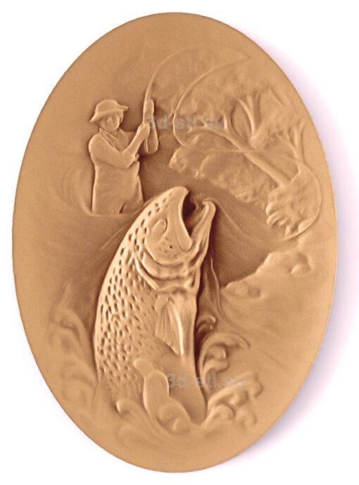 stl модель-Панно Рыбак