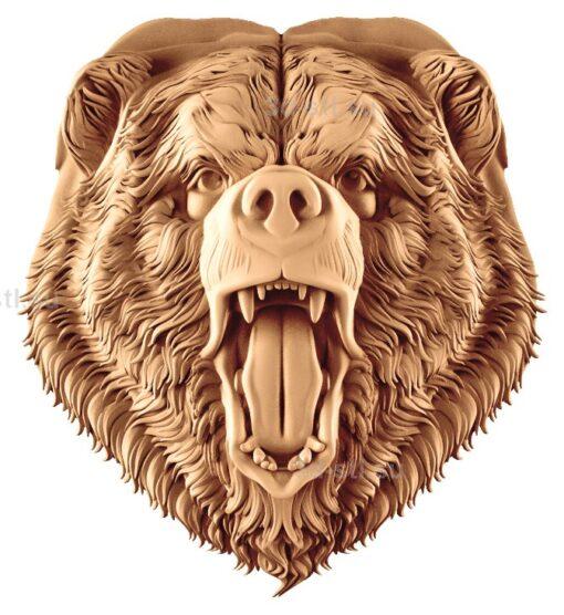 stl модель-Панно Голова злой медведь