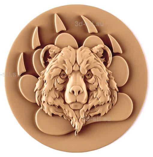 stl модель-Панно Медведь медальон