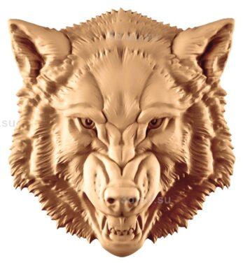stl модель-Панно Волчья гололва
