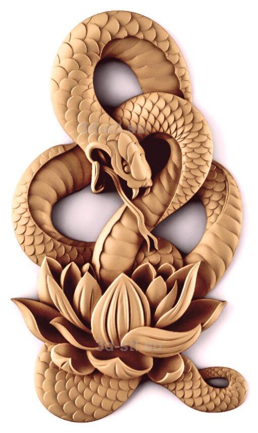 stl модель-Панно Змея и лотос