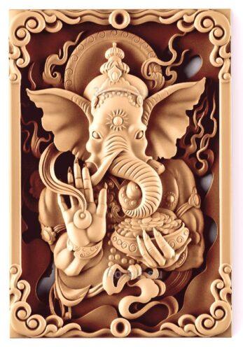 stl модель-Панно Слон-Бог