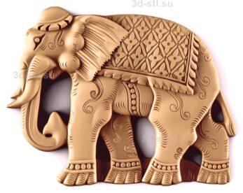 stl модель-Панно Слон