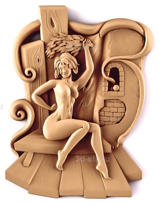 stl модель-Панно Стремная женщина парится