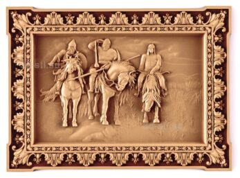 stl модель-Панно Три богатыря