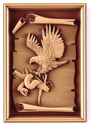 stl модель-Панно Орел с змией