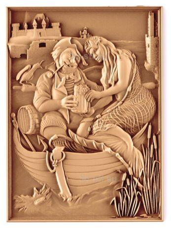 stl модель-Панно Рыбак и русалка-бармен