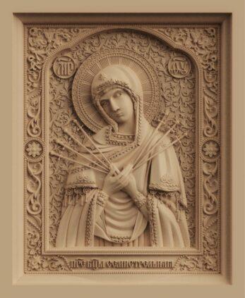 stl модель-икона Богородица Семистрельная