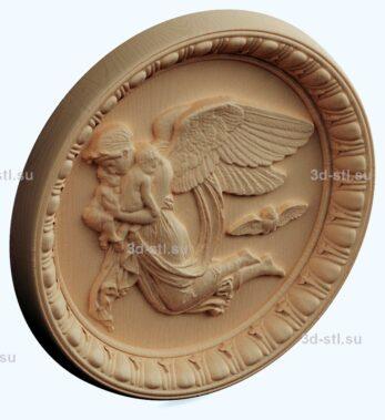 stl модель панно-ангел на тарелке