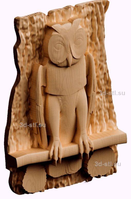 3d stl модель ключница Сова №5