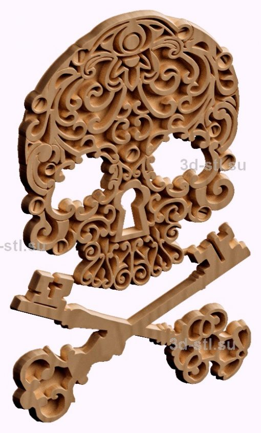3d stl модель ключница с черепом №7