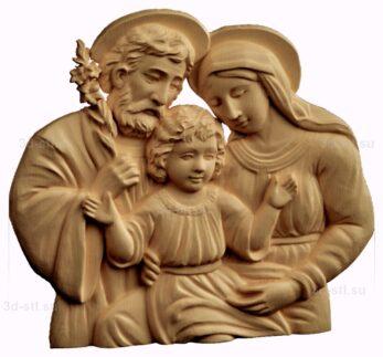 stl модель-барельеф  Святое семейство