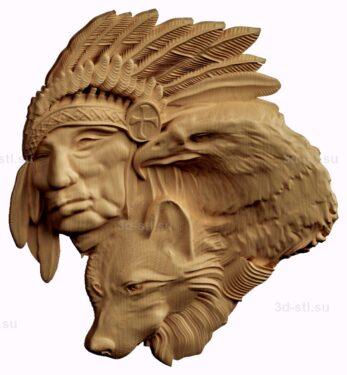 stl модель-барельеф  индеец, волк и орел