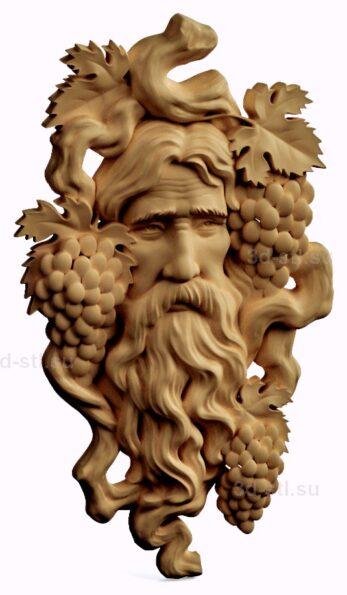 stl модель-барельеф  старик-виноград