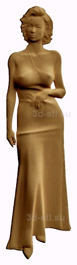stl модель-барельеф  девушка