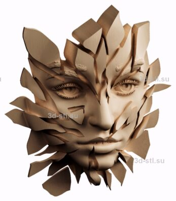 3d stl модель-барельеф   №68  Расколотое лицо