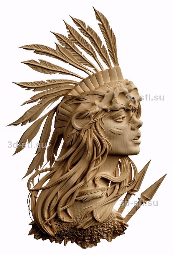 3d stl модель-барельеф   №69  Индейская девушка