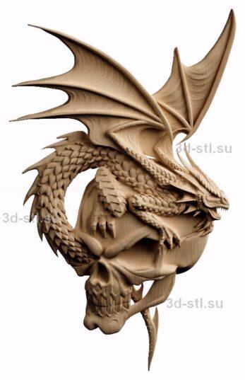 3d stl модель-барельеф №70 Дракон и череп