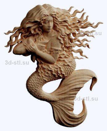 3d stl модель-русалка  барельеф № 91