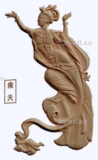 3d stl модель-древний китайский бог  барельеф № 94