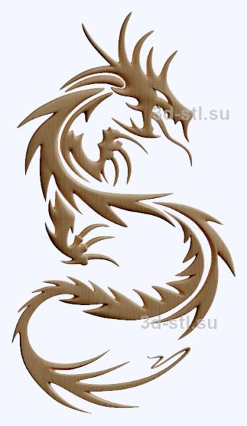 3d stl модель-дракон  барельеф № 96