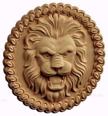 stl модель-Медальон лев