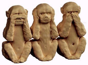 stl модель-барельеф  три обезьяны