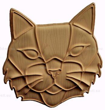 stl модель-барельеф  кот
